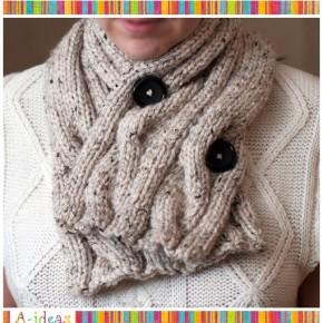 Зимний шарф спицами