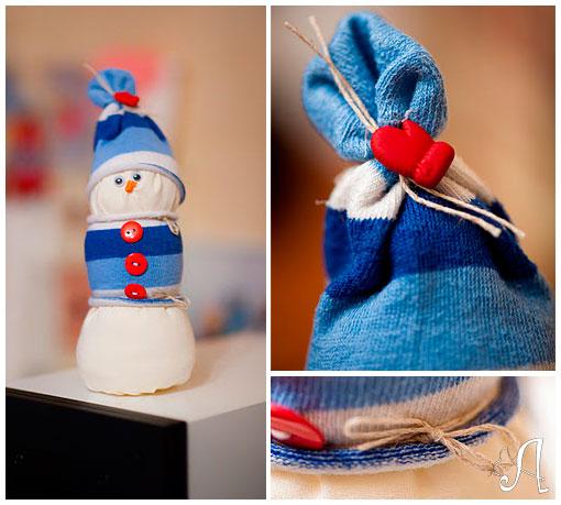 Снеговик из ткани [мастер-класс]