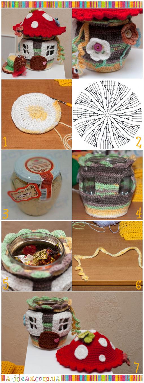 Декор крючком - конфетница