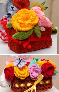 вязаные корзинки крючком для цветов
