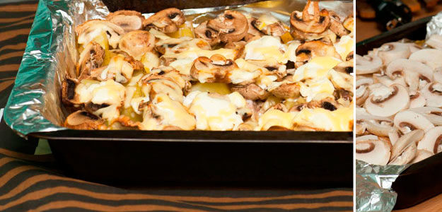 Запеченный картофель с грибами и мясом