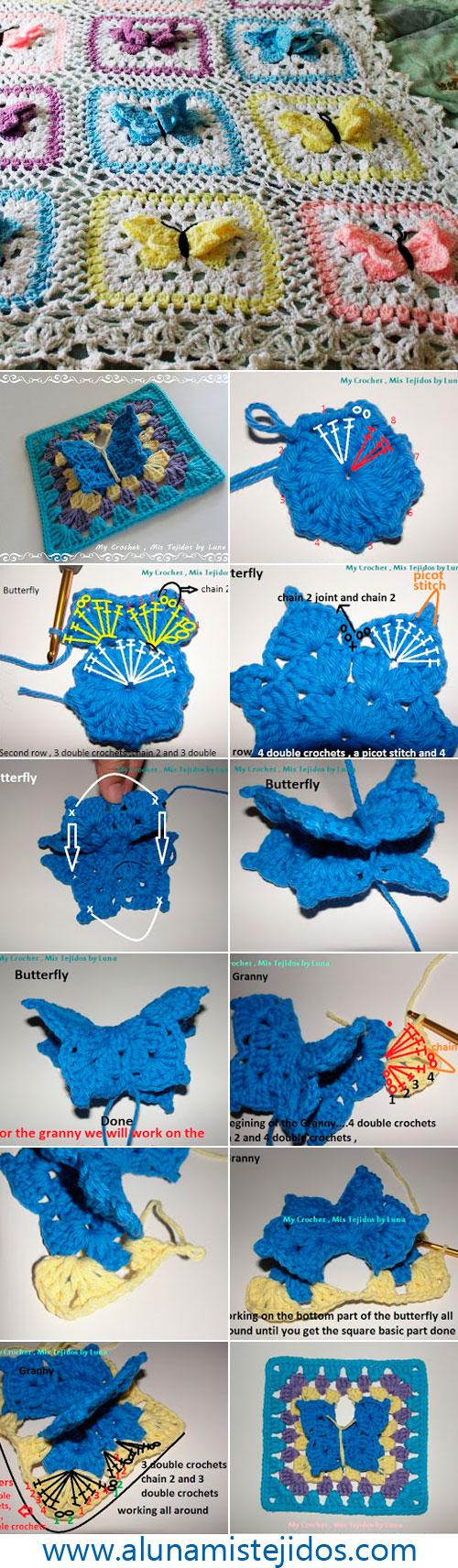 Вязание крючком бабочки в бабушкином квадрате