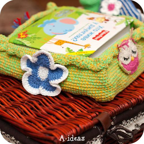 вязаная корзина крючком с детским декором