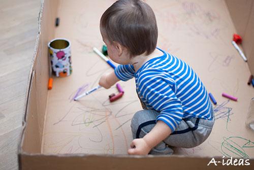 Рисование ребенка в коробке от техники