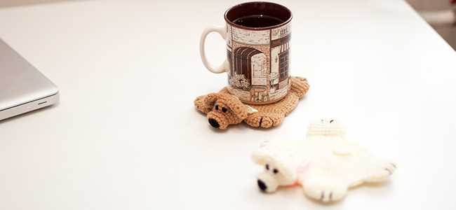 Подставки под чашки крючком Мими-мишки