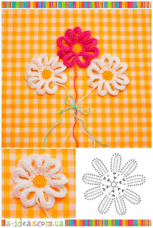 Вязаные цветы крючком и 10 схем к ним